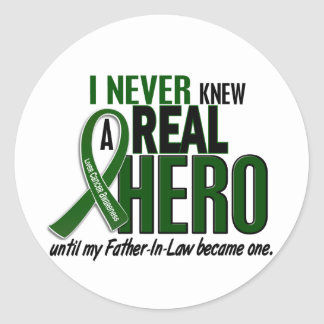Liver Cancer NEVER KNEW A HERO 2 Father-In-Law Classic Round Sticker