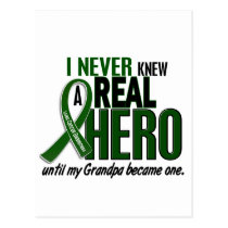 Liver Cancer NEVER KNEW A HERO 2 Grandpa Postcard
