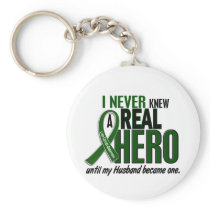 Liver Cancer NEVER KNEW A HERO 2 Husband Keychain