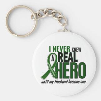 Liver Cancer NEVER KNEW A HERO 2 Husband Keychain