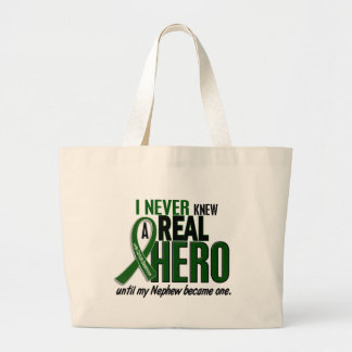 Liver Cancer NEVER KNEW A HERO 2 Nephew Large Tote Bag