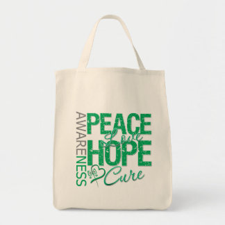 Liver Cancer Peace Love Cure Tote Bags