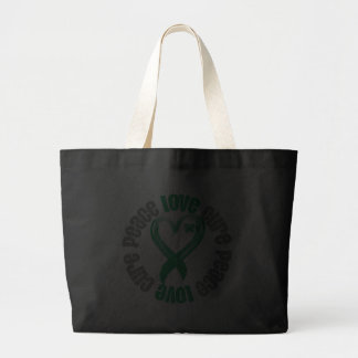 Liver Cancer Peace Love Cure Ribbon Canvas Bags