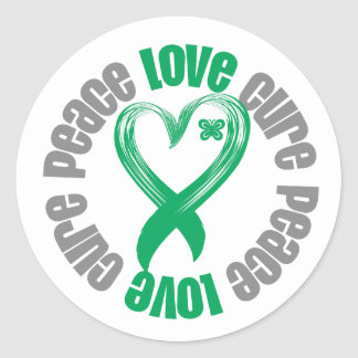 Liver Cancer Peace Love Cure Ribbon Round Stickers