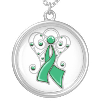 Liver Cancer Ribbon Angel In Memory Necklaces