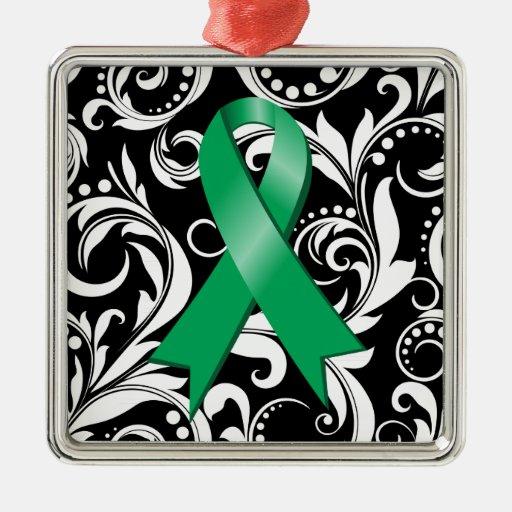Liver Cancer Ribbon Deco Noir Square Metal Christmas Ornament