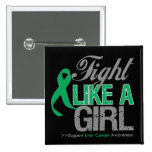 Liver Cancer Ribbon - Fight Like a Girl Button