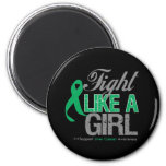 Liver Cancer Ribbon - Fight Like a Girl Refrigerator Magnets