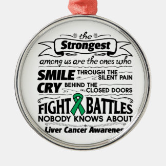 Liver Cancer Strongest Among Us Metal Ornament