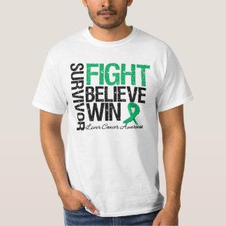 Liver Cancer Survivor Fight Believe Win Motto Tee Shirt