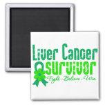 Liver Cancer Survivor Flower Ribbon Refrigerator Magnets