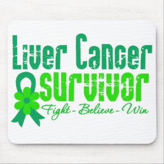 Liver Cancer Survivor Flower Ribbon Mouse Pad