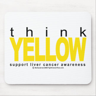Liver Cancer Think Yellow Mouse Pad