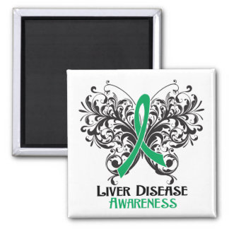 Liver Disease Awareness Butterfly 2 Inch Square Magnet