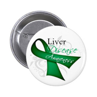 Liver Disease Awareness Ribbon 2 Inch Round Button