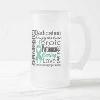 Liver Disease Caregivers Collage 16 Oz Frosted Glass Beer Mug