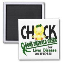 Liver Disease Chick Gone Emerald Green 2 Magnet