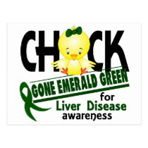 Liver Disease Chick Gone Emerald Green 2 Postcard