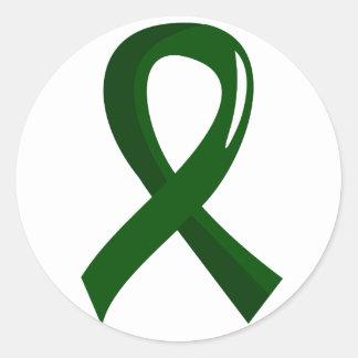 Liver Disease Emerald Green Ribbon 3 Classic Round Sticker