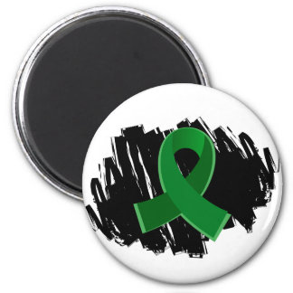 Liver Disease Emerald Green Ribbon With Scribble 2 Inch Round Magnet