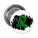 Liver Disease Emerald Green Ribbon With Scribble Pinback Button