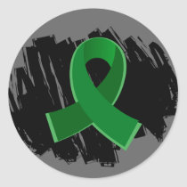 Liver Disease Emerald Green Ribbon With Scribble Classic Round Sticker