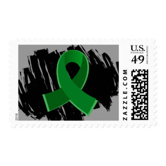 Liver Disease Emerald Green Ribbon With Scribble Postage Stamp