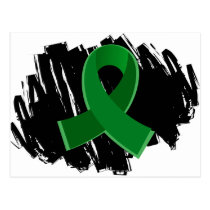 Liver Disease Emerald Green Ribbon With Scribble Postcard