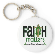 Liver Disease Faith Matters Cross 1 Keychain