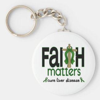 Liver Disease Faith Matters Cross 1 Keychain