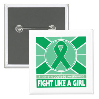 Liver Disease Fight Like A Girl Flag 2 Inch Square Button