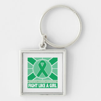 Liver Disease Fight Like A Girl Flag Silver-Colored Square Keychain