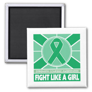 Liver Disease Fight Like A Girl Flag 2 Inch Square Magnet