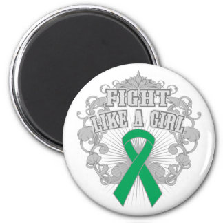 Liver Disease Fight Like A Girl Fleurish 2 Inch Round Magnet