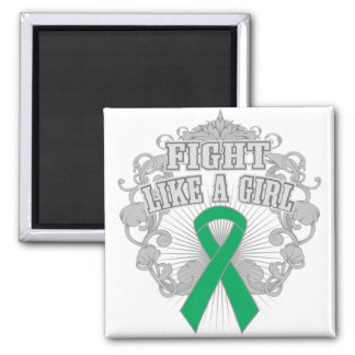 Liver Disease Fight Like A Girl Fleurish 2 Inch Square Magnet