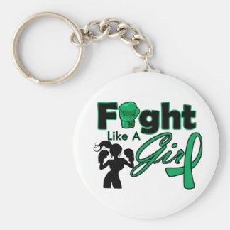 Liver Disease Fight Like A Girl Silhouette Keychain