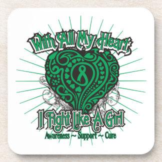 Liver Disease Heart I Fight Like A Girl Beverage Coaster