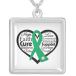 Liver Disease Heart Ribbon Collage Necklace