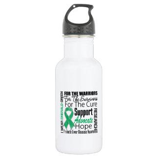 Liver Disease I Wear Emerald Green Ribbon 18oz Water Bottle