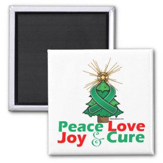 Liver Disease Peace Love Joy Cure 2 Inch Square Magnet