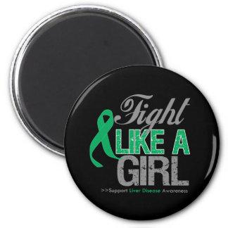Liver Disease Ribbon - Fight Like a Girl Fridge Magnets