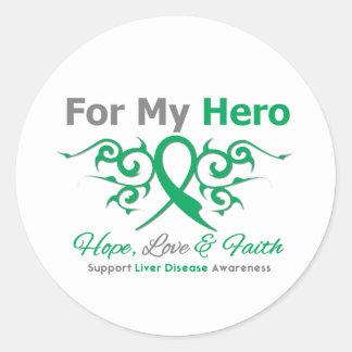 Liver Disease Tribal Ribbon Hero Classic Round Sticker
