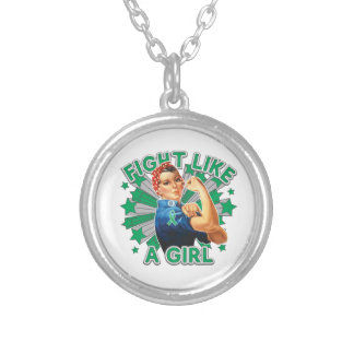 Liver Disease Vintage Rosie Fight Like A Girl.png Necklace