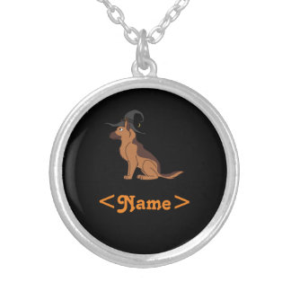 Liver & Tan German Shepherd with Witch Hat Round Pendant Necklace