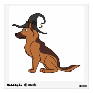 Liver & Tan German Shepherd with Witch Hat Wall Graphic