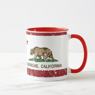 livermore de la bandera de California apenado Taza