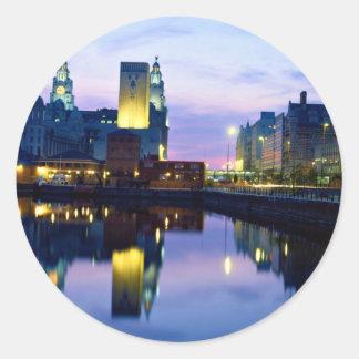 Liverpool at night, England Round Stickers