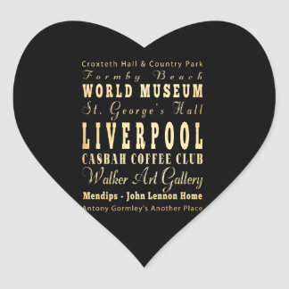 Liverpool City of United Kingdom Typography Art Heart Stickers