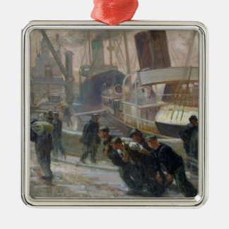 Liverpool Dockers at Dawn, 1903 Metal Ornament