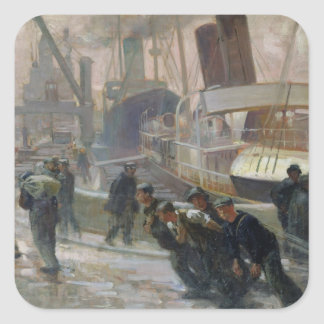 Liverpool Dockers at Dawn, 1903 Square Sticker